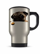 14oz Aluminium Travel Mug - Pug With Biscuit