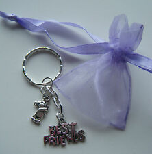 BEST FRIENDS Keyring Friendship Gift Party Bag Filler Bag Charm **FREEPOST**