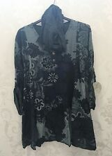 Ladies Lagenlook Italian Tunic Long Top Paisley Charcoal Scarf Size 18 20 22 24