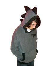 ONE-OF-A-KIND gray DINOSAUR sweater Hoodie sweatshirt EMO punk raver Black TOP