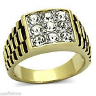 Nine Clear Crystal Stones RX Gold EP Mens Stainless Steel Ring