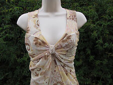 Bebe Stretch Net Big Bow Dressy Sleeveless Tank Size M Tan Floral