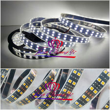 5M 16.4ft 12V Cool White 5050 600 LED Double Row Tube Strip Light Black PCB IP67
