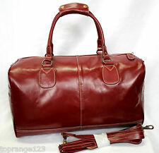 CHERRY RED LARGE HOLDALL VINTAGE PREMIUM LEATHER TRAVEL, SPORTS, WEEKEND BAG