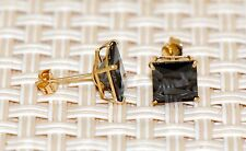 14K Solid Yellow Gold Princess Square Black Onyx CZ Stud Earrings Basket 6mm