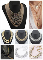UK Pendant Chain Crystal pearl Choker Chunky Statement Bib Necklace Vintage blog