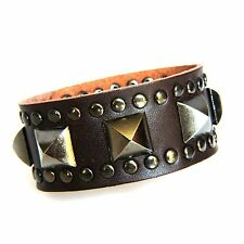 Vintage style Surfer Hip Hop Genuine Brown Leather Bracelet with Pyramid Spikes