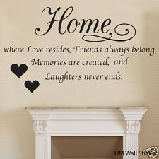 """ HOME is where love resides... "" inspirational quote wall art decal"