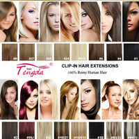 CLIP IN REMY REAL HUMAN HAIR EXTENSIONS 7PCS FULL HEAD 15COLORS ANY LENGTH US