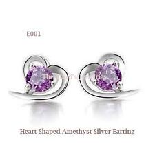 Heart Shaped Amethyst Silver Earring