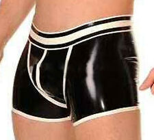 Latex Boxer Men's Underwear with Trims Men Latex Pants With Spliced Shorts