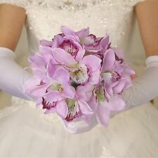 Wedding Silk Flowers Bouquet 12 Head Artificial Orchids Party Table Decor