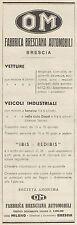 Z3101 Fabbrica Bresciana Automobili Brescia OM - Pubblicità - 1933 old advert