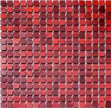 1 QM Glasmosaik Rot Mix Mini 16 Dusche Mosaik Bad Fliesen Granit Sanitär Spiegel