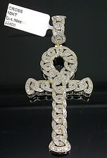 "10K Men's Yellow Gold Ankh Charm With 1.10CT Diamond 2.5"" Long #Cross, Angel"