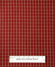 Homespun Primitive Large Check Colonial Red Cotton Fabric Dunroven House YARD