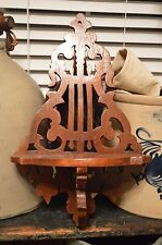 Nice Vintage Antique Hand Scroll Cut Wall Shelf Cello Leaf Pattern High Gloss
