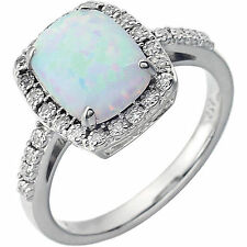 Genuine .07 ctw Diamonds & Opal (Created)  Halo Style Ring Solid 14K. White Gold