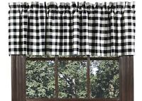 LINED WINDOW VALANCE 72X16 IN BUFFALO BLACK CHECK COTTON PRIMITIVE COUNTRY