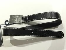 TRUE RELIGION UNISEX STITCHED BUCKLE BELT BLACK Y13JX41BW8 NWT SZ-32 RETAILS $99
