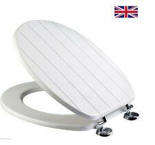 new White Tongue and Groove Wooden MDF Bathroom Toilet Seat with Chrome Hinges