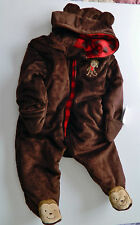 Just For You Fleece Brown Monkey One Piece Zip-Up Winter Snow Size 6M 6 Mo