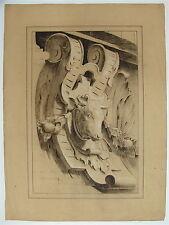 Tête de bœuf : projet d'enseigne ou d'ornement - dessin original XIX° siècle