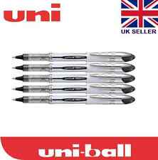 5 x Uni-ball Vision Elite UB-200 0.8mm Tip Rollerball Black Pen