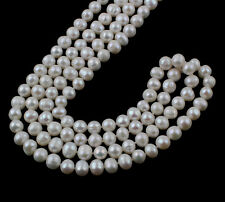FAB 8-9mm White Freshwater Pearl Necklace 160cm - women's pearl necklace
