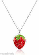 925 Sterling Silver Crystal Red Strawberry Pendant Necklace 18""