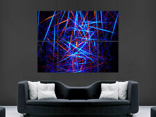 TRIPPY ABSTRACT NEON LASERBEAMS ART WALL PICTURE POSTER  GIANT HUGE