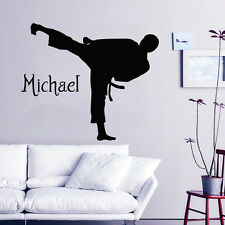 Karate Wall Decal Boy Personalized Name Vinyl Stickers Martial Arts Decor KY91