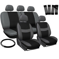 Four Seasons Universal Flat Cloth Car Seat Cover 10 Pieces Set Gray & Black