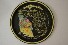 WALT DISNEY WORLD MICKEY MOUSE ROUND BLACK TIN METAL TRAY PLATE SOUVENIR VINTAGE