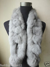 Fashion The latest color Real Best Whole rabbit fur handmade  scarf  GRAY