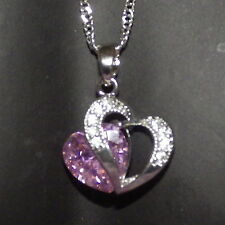 New 925 Sterling Silver Pink Crystal Heart Pendant Charm Twist Link Chain