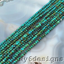 "Ny6design 3x3mm Natural Blue Hubei Turquoise Round Beads 15"" (TU599)a"