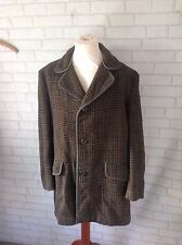 Vintage Men's 1950's Epco Wool and Cashmere Brown Houndstooth Coat Size Large