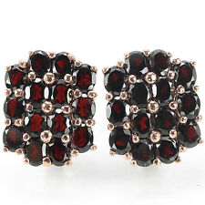 NATURAL AAA DARK RED GARNET OVAL FACET STERLING 925 SILVER EARRING
