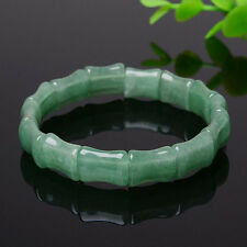 Natural Light Green Icy Jadeite Jade Hand-carved Bamboo Beads Bracelet Bangle A