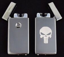 Punisher Dual Arc Electric USB Lighter Rechargeable Flameless Windproof Plasma