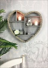 Wall Hanging Shelf Display Unit Cabinet Shabby Chic Vintage Storage Wicker Wood