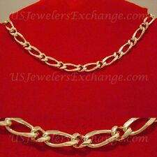 """NEW WOMANS HOT 24K HEAVY GOLD GP FAT 8mm FIGARO 16"""" CHOKER NECKLACE #531"""