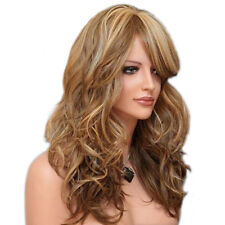Fashion Long Light Brown&Blonde Mix Women Wig Resistant Wave Curly Synthetic Wig