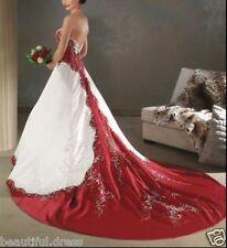New white and red satin embroidery Wedding dress bridal gown Custom Size 2-26+