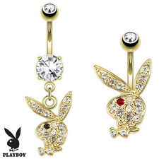 2 Pc Licensed Playboy Bunny Dangle Paved C.Z. Gold Plated Belly Rings