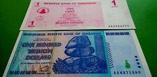 �� ZIMBABWE $100 TRILLION & 1 CENT