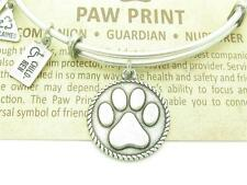 Authentic Wind And Fire Paw Print Charm Wire Bangle Bracelet Made In USA Gift