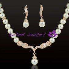 18K Rose GOLD GF 7mm Pearl NECKLACE SET SWAROVSKI CRYSTAL Party Wedding ES333-L