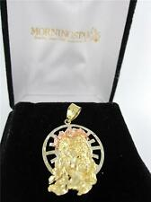 14KT YELLOW GOLD PENDANT PINK JESUS CHRISTIAN CHRIST HOLLY FACE RELIGION CHARM